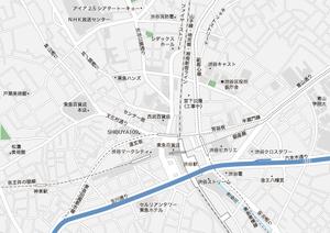 東京 渋谷・神泉 地図フリー素材A4(eps)