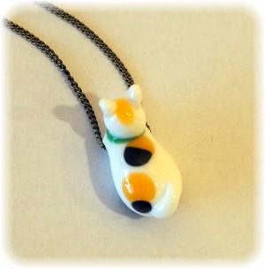 世界で一つ とんぼ玉 猫 ネックレス ガラス製