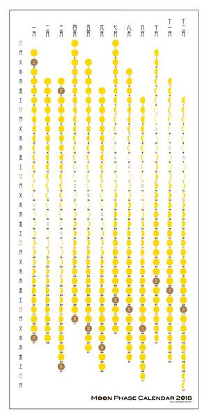 月の満ち欠けシルクプリントカレンダー(たて)