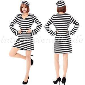 コスプレ服 オリジナル 女囚人服 ボーダーワンピース 帽子 コスプレ衣装 コスチューム ハロウィン 仮装 ミニワンピース ボーダー柄 囚人 囚人ワンピース 縞模様 仮装 パーティー ミニスカート レディース 女性 大人 3732