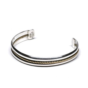 Vintage Mexican Sterling Silver & Brass Bangle