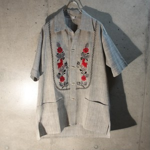 70s Dead Stock Embroidery Chambray Shirt