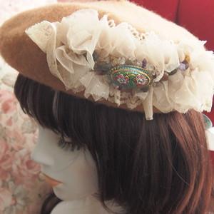 【11/25 21:15-】ポワポワベレー帽 チェコと天然石