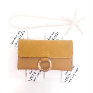 PAJOUR マスタード色 ほのかに輝く真鍮リングスエード手帳型ケース