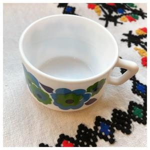 カップ アルコパル ミルクガラス ブルー レトロフラワー ヴィンテージ食器