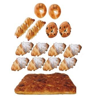 ベーグル3種類(プレーン2・チョコ2・ウィンナー2)6個 & ざぶとんフォカッチャ&クッキークロワッサン8個