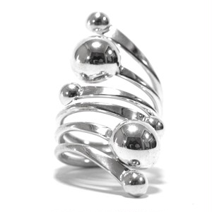 Vintage Sterling Silver Mexican Modern Bypass Beads Ring