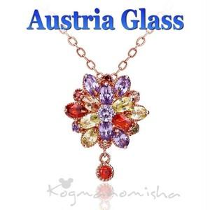 新品☆オーストリアガラス マルチカラー ラインストーン ピンクゴールドメタル お花 ドロップ ペンダント