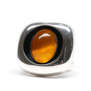 Vintage Mexican Silver & Amber Ring
