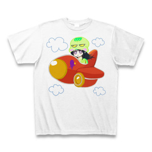Irieキャラ飛行機ふてガメ姫サンキューTシャツ