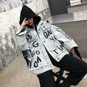 alphabet denim jacket