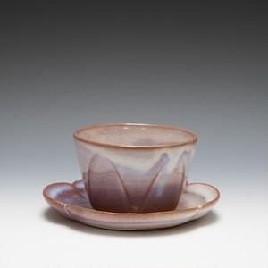 面取碗皿(粉引紫)
