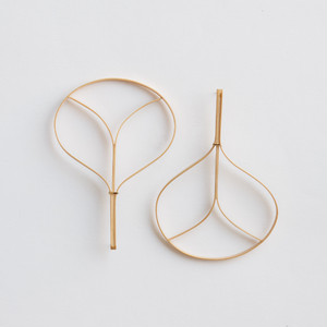 """Fan"" Bamboo stud earrings /size: M"