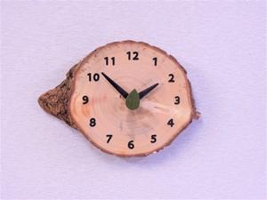 イチョウ丸太 森の掛け時計