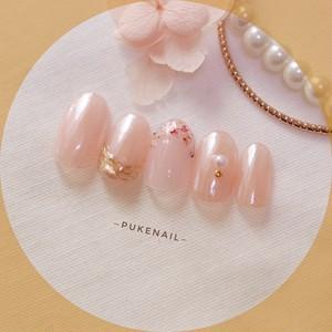 Pukeネイル[No.407]シンプル・押し花❤️ニュアンス・オフィス♡結婚式ネイルチップ