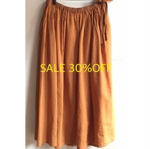 SALE30%OFF【LILASIC】タックギャザーイージースカート イエローブラウン フリーサイズ【リラシク by ノースオブジェクト】
