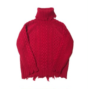 CHRISTIAN DADA - Damaged Cable Knit Turtleneck Sweater (RED)
