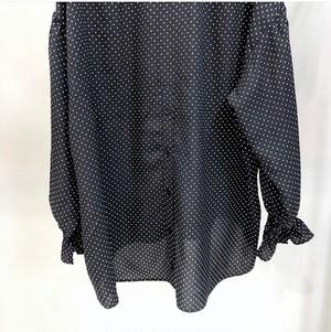 ドットプリントのチュニック丈ブラウス【dot print blouse】