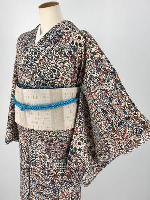 小紋 袷着物 着物 長襦袢 きもの カジュアル着物 仕立て上がり 送料無料 リサイクル着物 中古 身丈161cm 裄丈64.5cm
