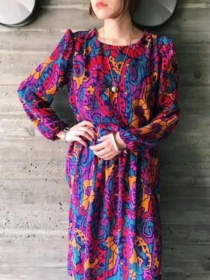 80s multi color design dress ( ヴィンテージ マルチカラー デザイン ワンピース )
