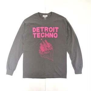 「デトロイトテクノ長袖Tシャツ(DETROIT TECHNO)」チャコール S/M/L 2021SS  WATERFALL