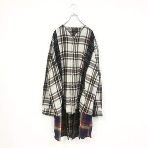 REMAKE LONG CHECK SHIRT(BROWN)