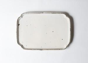 [加藤 祥孝 個展]8.5寸 隅入長皿 /粉引