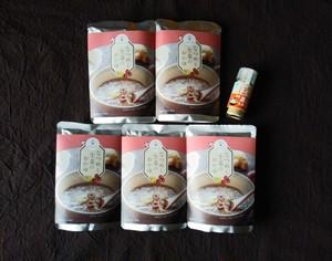 なつめと生姜のお粥 5袋  と 蒸し生姜のセット
