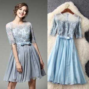 【送料無料】レース 切替 シースルー 刺繍 ウエストリボン 結婚式 ドレス 全2色
