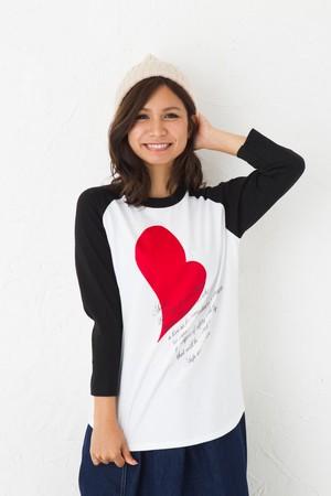 ハート Tシャツ ラグラン7分袖 2色