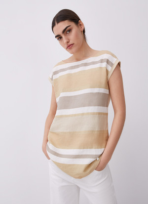 THREE COLOR STRIPED T-SHIRT