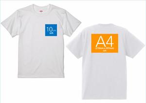 半袖ホワイトTシャツ-両面プリント胸ワンポイント+バックA4サイズまで