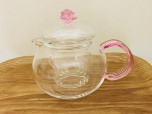 【茶器】耐熱ガラス茶漉し付き 人気ピンクポット 1つ