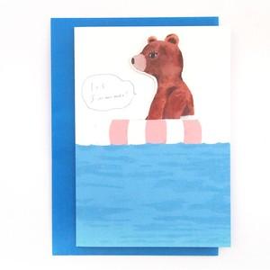 夏を楽しむカード サーフィンくま