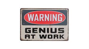 警告サイン-GENIUS AT WORK