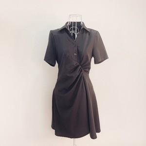 シャーリングミニシャツドレス