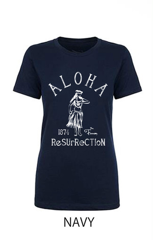 [WOMAN] ALOHA RESURRECTION TEE -NAVY-