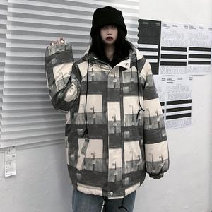 【アウター】韓国系大人気 切り替えプリントフード付きジッパーダウンコート25753938