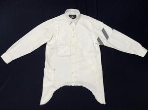 アイスブリーチ8.5オンスデニムデストロイロングシャツ / Ice bleach 8.5onz denim destroy long shirts