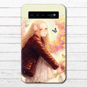 #078-003 モバイルバッテリー おすすめ iPhone Android かわいい おしゃれ エモい イラスト ファンシー 花柄 スマホ 充電器 タイトル:flower 作:romiy