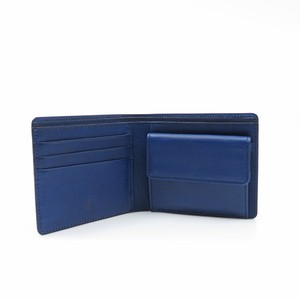 藍染め革の二つ折り財布