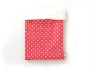 ハリネズミ用寝袋 M(冬用) フリース×フリース 水玉 ピンク