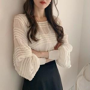 【トップス】韓国系スウィートギャザー飾りランタンスリーブ長袖プルオーバー27813569