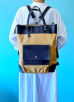 【1点もの/再販なし】2WAY リュック トートバッグ 帆布 キャメル & 本革 ネイビーラメ
