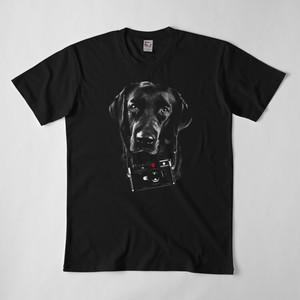 ライカカメラ&ラブラドール Tシャツ(黒)