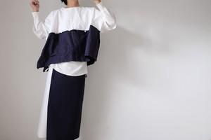 エプロンラップパンツ / コットン デニム&ギャバジン【 白紺セパレート 】/ apron wrap pants / cotton denim&gabardine 【 white&navy blue separate 】