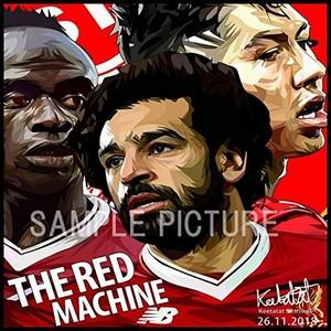 サッカーグラフィックアートパネル 「FW三銃士」 リバプールFC サラー フィルミーノ マネ 木製 壁掛け ポスター (001-201)