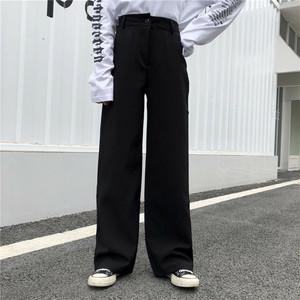【ボトムス】細見え効果抜群シンプルハイウエストカジュアルパンツ18083823