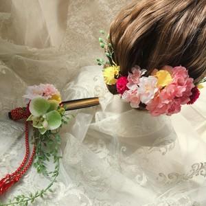 【送料無料】ヘアパーツとお揃い。桜と胡蝶蘭で、春の扇子ブーケ -mixcolor-