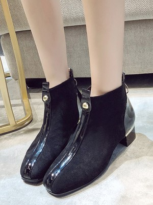 【shoes】Wild square head with thick boots